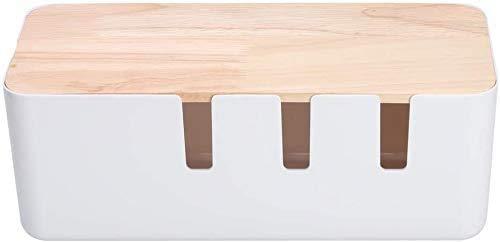 Caja de cables grande de plástico ABS con ventilación, 12,2 x 31 x 13,1 cm, organizador de textura de madera, varios usos