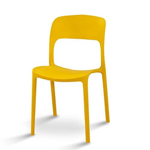 CJH eenvoudige modieuze stoel, verdikkingsstoel, kunststof, eettafel, kruk, conferentie, school, stoel, vrije tijd, balkon, stoel, geel, zwart, rood