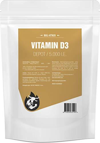 VITAMIN D3 Depot 5000 ie von Bull Attack | 250 Softgel-Kapseln | Sonnenschein Vitamin D-3 | Für Immunsystem, Knochen und Gesundheit