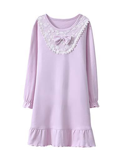 DianShaoA Nachthemden Für Mädchen Langarm Süß Bogen Dekoration Prinzessin Rundhalsausschnitt Schlafanzüge Violett 110
