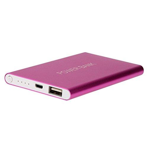 Muxika Ultrathin 12000mAh Portable USB External Battery Charger Power Bank (Hot Pink)