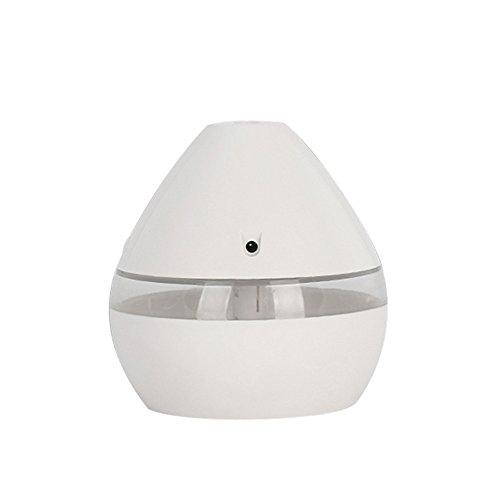 DAY8 Diffuseur d'Huiles Essentielles Mini 300ml Humidificateur d'air Maison par Ultrasonique LED Humidificateur Bébé USB Humidificateur d'Air Chambre Portable pour Yoga, Salon, Voiture, SPA (Blanc)