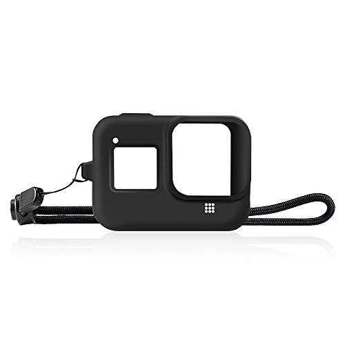 TUTUO Housse de Protection pour GoPro Hero 8 Black Protection AVCE Sangle,étui de Protection Souples en Silicone + Cordon(Noir)