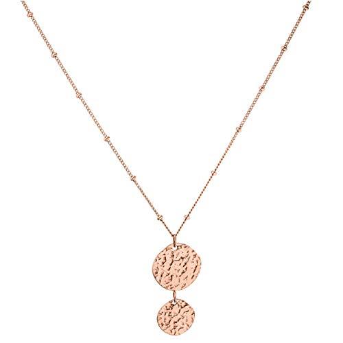PURELEI® Malihini Coin Halskette (Gold) Mit Anhänger (40 cm Länge) (Rosegold)