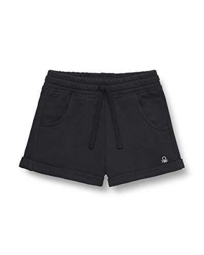 Benetton Bermuda Pantalones Cortos, Negro (Negro 100), 128 (Talla del Fabricante: Medium) para Niñas