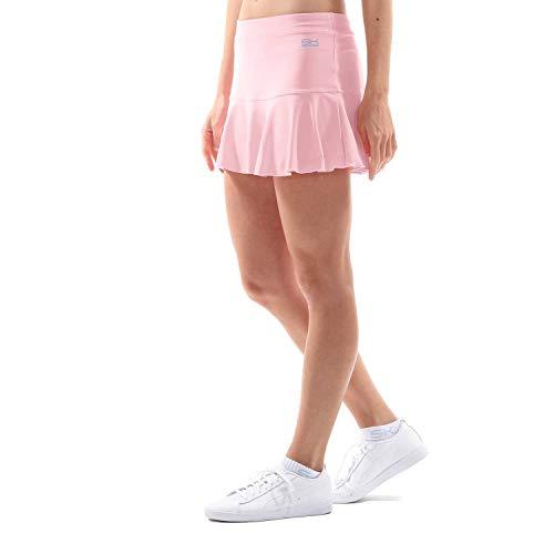 Sportkind Mädchen & Damen glockiger Tennis, Hockey, Sport Skort, Rock mit Innenhose, atmungsaktiv, UV-Schutz, Hellrosa, Gr. 110