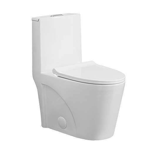 one-piece toilet, Dual Flush high-performance gravity 0.8/1.28 GPF, Elongated comfort height bowl, Soft Closing Seat, Cotton White.