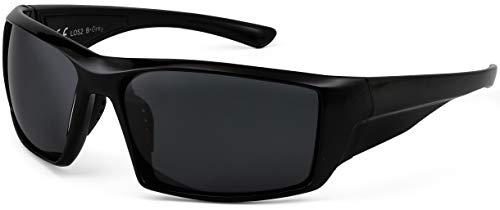 La Optica B.L.M. UV400 CAT 3 Unisex Damen Herren Sonnenbrille Sportbrille Fahrradbrille Tennis - Schwarz (Gläser: Grau)