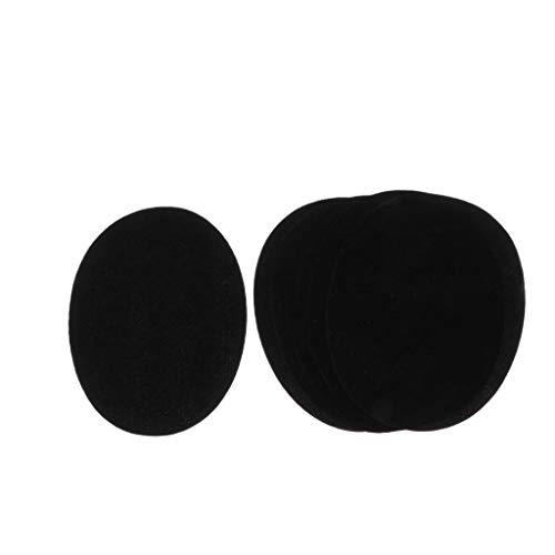 6pcs Weiche Samt Ellbogen - und Knieflicken zum Aufnähen oder Aufbügeln, ovale Flicken für Ellenbogen und Knie Applikation - Schwarz