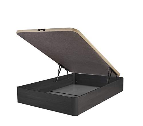 DHOME Canape Abatible Tapizado 3D 4 válvulas Maxima Calidad Esquinas canapé Madera (135x190 Ceniza, 22mm)