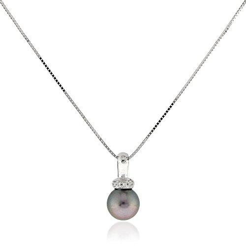Gioiello Italiano - Collana in Oro Bianco 18kt con Diamanti 0.02ct e Perla Grigia