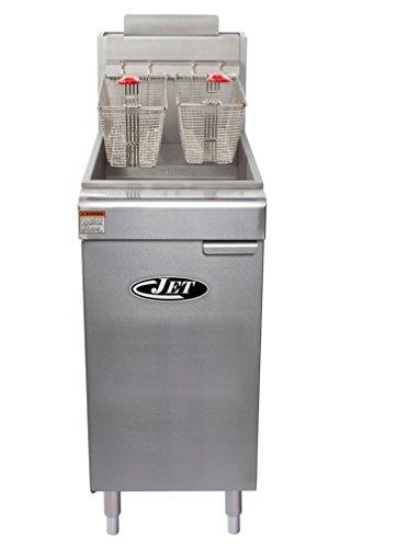 JET JFF4-50L Commercial 50lb 4 Tube Floor Gas Deep Fryer 120,000BTU Per Hr Liquid Propane LP Gas, 50 Pound Capacity, Metallic