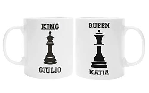 Colorfamily Coppia Tazze Mug SanValentino Personalizzabile King & Queen Personalizza con Nome - Scacchi - Idea Regalo per Lui e lei