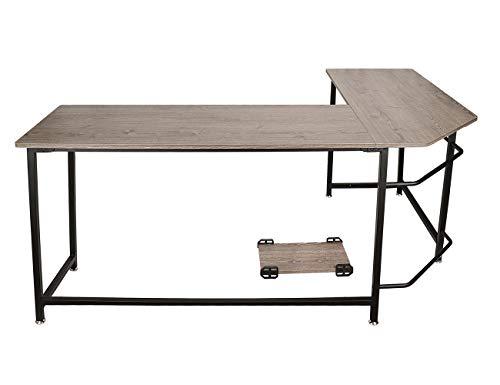 Escritorio simple para computadora con almohadilla de pie extraíble, escritorio en la esquina, escritorio en forma de L, escritorio de esquina para el hogar, escritorio para trabajo (madera retro)