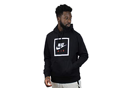 Nike Mens M NSW Po Hoodie Air 5 Hooded Sweatshirt, Black/White, L