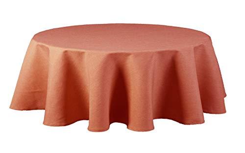 Maltex24 Textil Tischdecke - Leinen Optik - wasserabweisend oval (terrakotta, oval 135x180)