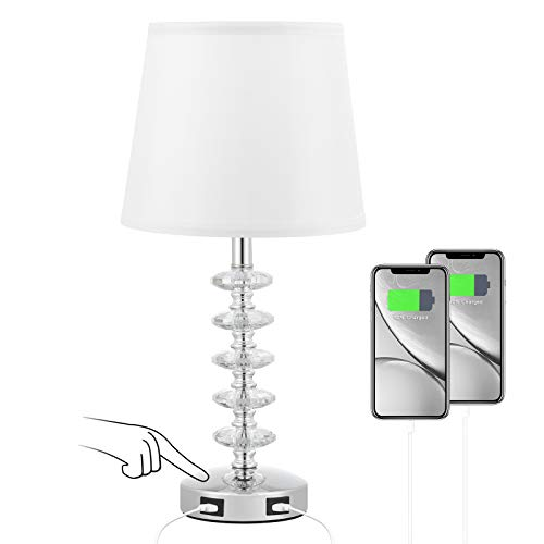 Touch USB Crystal Table Lamp, 3 Way Dimmable Bedside Lamp with Dual USB Ports, Touch Nightstand Light with Modern White Shade, 17.8' Crystal Lamp for Bedroom Living Room Hallway(Led Bulb Included)