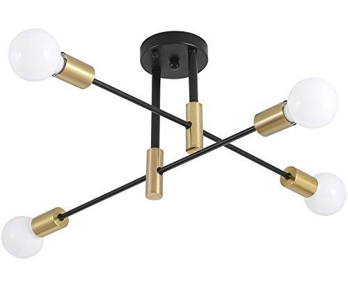 Lámpara de techo moderna de mediados de siglo Sputnik, lámpara de techo con 4 luces industriales semiempotradas de montaje empotrado,...
