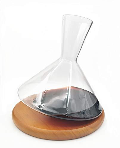 YLB Decantador de vinos Cristal sin Plomo Rolling Top Transparente 360 ° Rotating Tumbler Sacudir la instalación de diseño con Accesorios de Base de Madera, Carafe DE Rover DE Vino (1800ml)