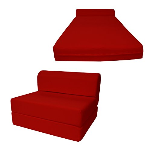 Chair Folding Foam Bed, Studio Sofa Guest Folded Foam Mattress (6' x 24' x 70', Red)