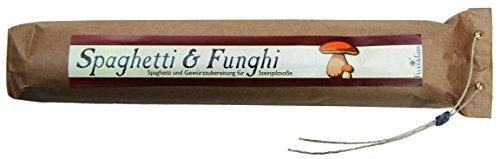 Spaghetti & Funghi – Gourmet Geschenk – Spaghetti mit fertiger Saucen Mischung (560g) – zum Kochen oder Verschenken – von Feuer & Glas