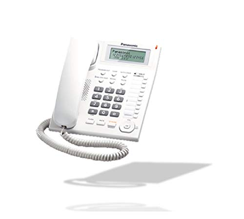 Panasonic KX-TS880 - Teléfono fijo con cable (LCD, Entrada Jack, marcación directa, altavoz, identificador de llamadas, reloj), color blanco