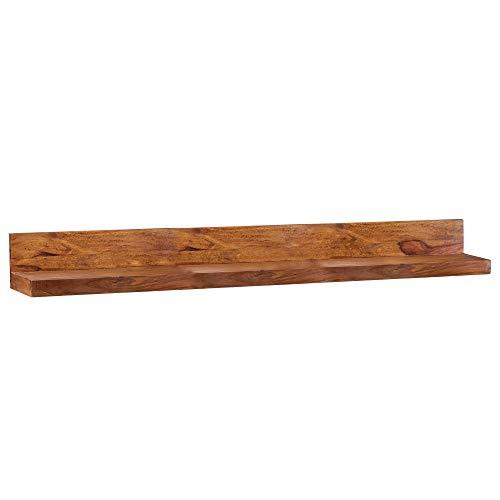 FineBuy Wandregal Massiv-Holz Sheesham Holzregal 160 cm breit Landhaus-Stil Hänge-Regal Echt-Holz Wand-Board Natur-Produkt Wandkonsole dunkel-braun Brett unbehandelt Regale zum Aufhängen Unikat Ablage