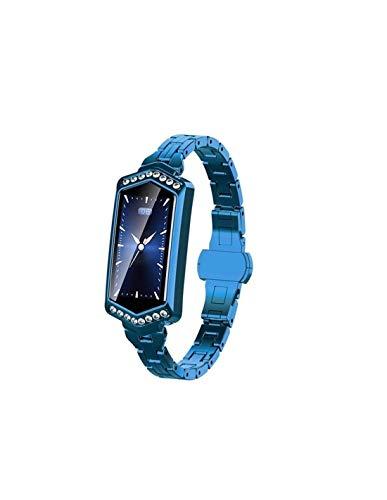 Roneberg RB78 - Reloj inteligente para mujer, con podómetro y monitor de sangre, resistente al agua IP67, color azul