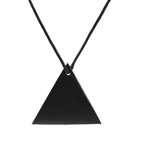 Heka Naturals Collar de Shungite con Colgante de Diseño Triángulo Hecho de Piedra Shungit | Joyería de Shungita Moderna, Usada para Equilibrar Chakras y Energía| Triángul