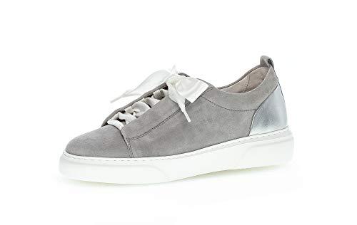 Gabor Damen Halbschuhe, Frauen Sneaker,lose Einlage,Best Fitting,Freizeitschuhe,weiblich,Lady,Ladies,Women's,Woman,grau/silb.(S.weiß,40 EU / 6.5 UK