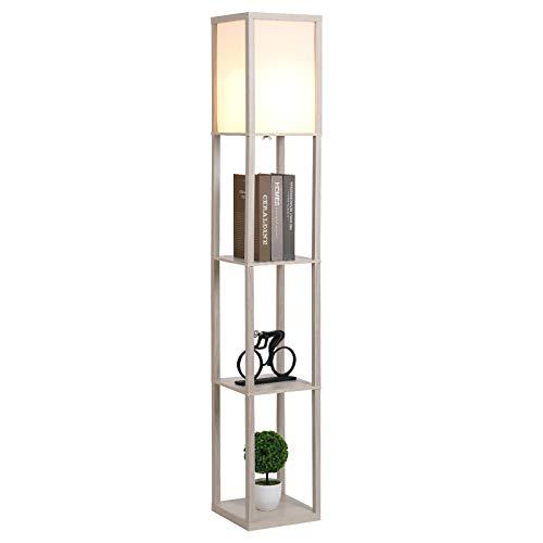 HOMCOM Stehleuchte Stehlampe mit 3 Regalen Innenbeleuchtung E27 bis 40W für Wohn-/Schlafzimmer E1-MDF, Acryl Eiche+Weiß 26 x 26 x 160 cm