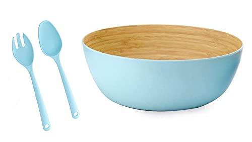 Ensaladera Cuenco bambú orgánico azul + Set Cubiertos para Ensalada. 23 cm, x 10 cm. I Fibra de Bambú. Vajilla ecológica bambú I Libre de BPA y Apto lavavajillas, Cuenco ensaladera.