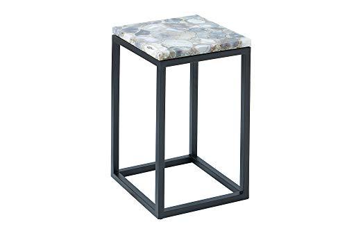 DuNord Design bijzettafel, salontafel, agaat, steen, metaal, zwart, Kreta, 50 cm design, nachtkastje, stenen tafel, agattafel