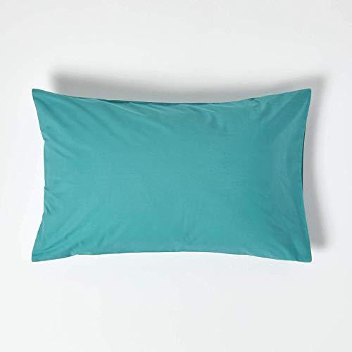 HOMESCAPES – Taie d'Oreiller rectangulaire 50 x 75 cm Turquoise - 200 Fils 100% Coton