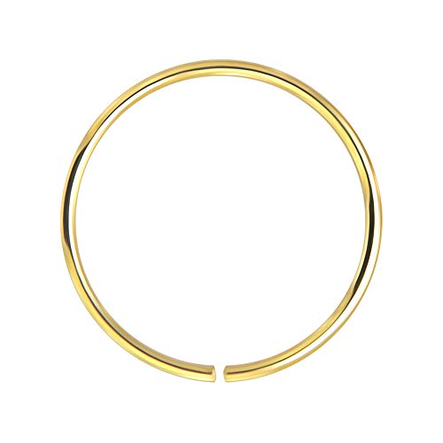 AZARIO LONDON 14K Yellow Gold 22 Gauge - 10MM Diameter Seamless Continuous Open Hoop Nose Ring Nose Piercing