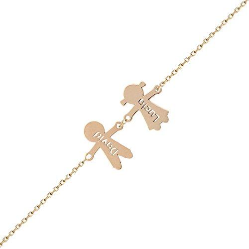 Minoplata Braccialetto personalizzato per bambini, in oro 18 carati, con nome, un gioiello regalo per una donna sofisticata per la festa della mamma