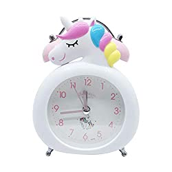 CoolGadget Unicorn Alarm Clock for Girls, Vintage Loud Twin Bell Cartoon Alarm with Button Night Light,Battery Operated Non-Ticking Silent Alarm Clock for Bedside (White)