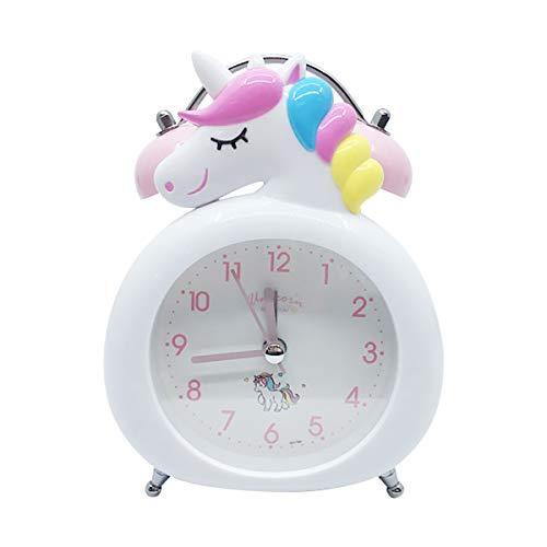 Sveglia Unicorno Bambina,Non-Ticking Silenziosi Sveglia Vintage da Ccomodino Campana Doppia per Camera da Letto Delle Ragazze