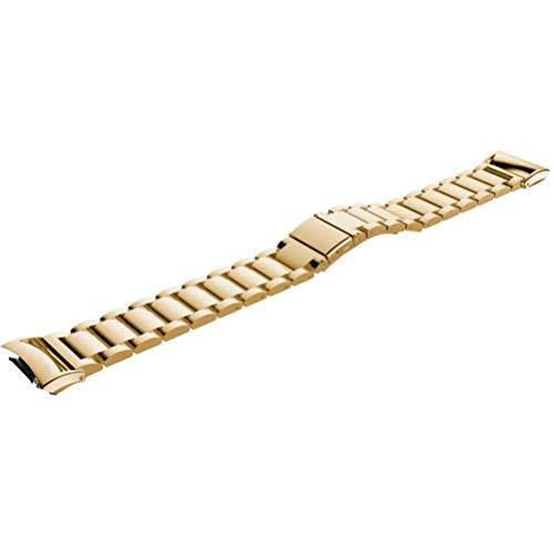 NICERIO - Pulseira compatível com Gear Fit2 Pro/Fit2 – Pulseira de relógio de aço inoxidável para relógio de substituição compatível com Samsung Gear Fit2 SM-R360 Smartwatch, Dourado, 11.7x1.8cm