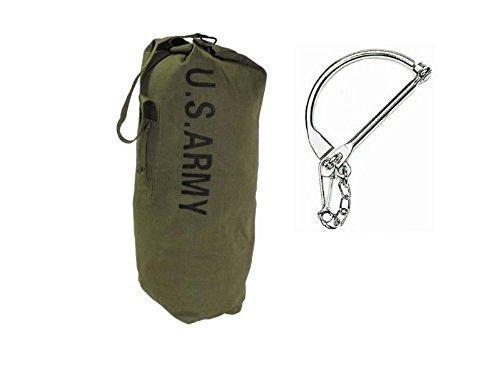 Unbekannt Canvas Army Seesack oliv mit Trageriemen inkl. Bundeswehr Verschlussbügel