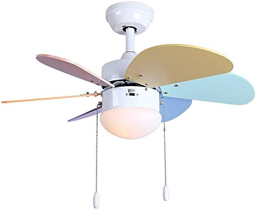 """WUAZ 30\"""" Deckenventilator Mit Licht 6 Paddles, Kinderdeckenventilator Licht, Multi-Coloured MDF, Kettenbedienung"""