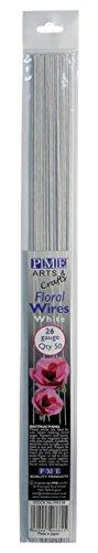 PME FW126 Set de 50 Fils pour Fleurs, Métal, Blanc, 0,1 x 0,1 x 36 cm