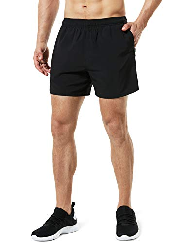 TSLA Men's Active Running Shorts, Training Exercise Workout Shorts, Quick Dry Gym Athletic Shorts with Pockets, 5 Inch(mbh25) - Black, Small