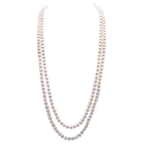 JYX perlenkette lang perlenkette weiß Kette perlen doppelte perlenkette 8–9 mm weiße Süßwasser-Perlen-Halskette Lange Pullover-Kette 81,3 cm