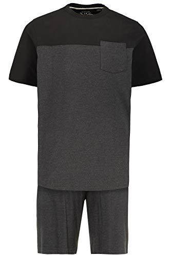 JP 1880 Herren große Größen Schlafanzug anthrazit-Melange 6XL 726613 11-6XL