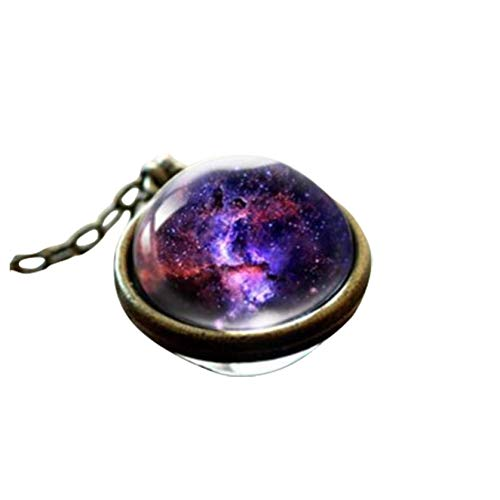 Sweater Necklace for Women, Solar System Planets Chain Necklace Charm Jewelry Gift Pendant Galaxy Double Sided Glass Crystal Ball Necklace Dress Accessories (G)