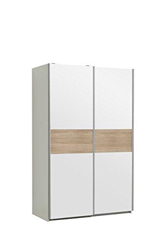 FORTE Ohio Kleiderschrank, Holzwerkstoff, Korpus in Weiß matt mit einer Front in Weiß und einer Bauchbinde in Weiß oder Sonoma Eiche Dekor, B*T*H: 120 x 61,2 x 190.50 cm