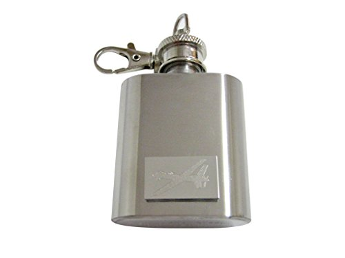 Silver Toned Etched Unmanned Aerial Vehicle UAV Drone V2 1 Oz. Stainless Steel Key Chain Flask