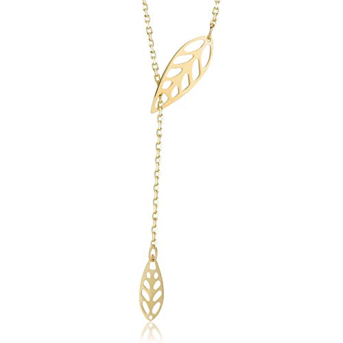 Damen Halskette aus 14 Karat - 585 Echt Gelbgold Kette mit Anhänger als hängenden Blätter, Geschenk für Geburtstag Weihnachten, Goldkette Blatt - Kette 45 cm