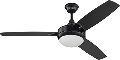 Craftmade 3 Blade Ceiling Fan Black with Dimmable LED Light and Wall Control TG52BK3 Targas 52 Inch -  TG52GBK3